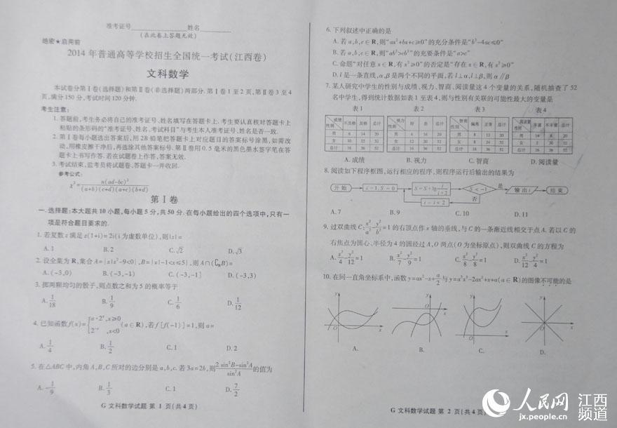 2014高考语文江西卷_2014年江西高考文科数学试题--江西频道--人民网