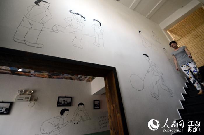 饭店墙上画画图片