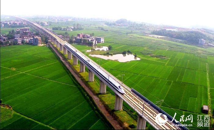 航拍沪昆高铁线路景象