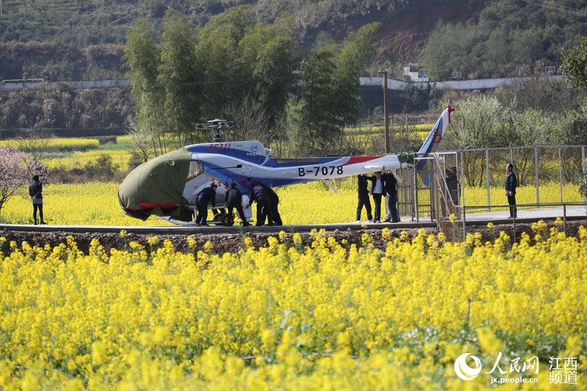 工作人员为坐直升机看油菜花项目做准备。