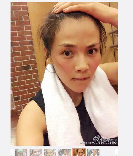 刘涛素颜健身减肥 满脸汗水皮肤粉嫩(组图)