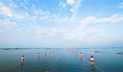 永修通往鄱阳湖国家级自然保护区的永吴公路大湖池段,再现水上公路