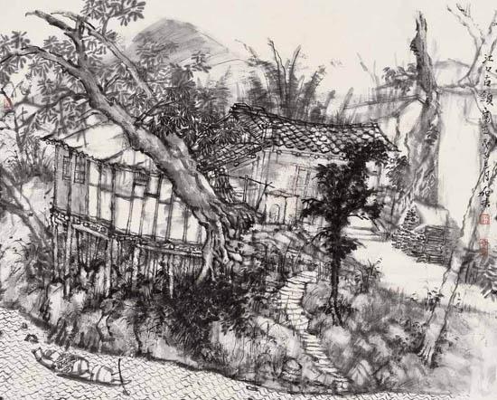 何加林中国山水画写生作品欣赏
